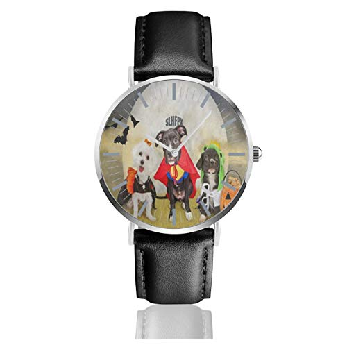Watch Hipster Puppy Dog Dressed in Halloween Costumes Unique Wrist Watches Quartz Stainless Steel and PU Leather for -