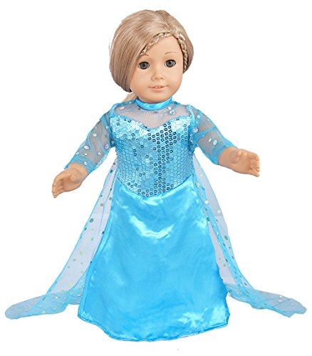 Ebuddy Sparkle Princess Dress Clothes Fits 18 inch Dolls Includes American Girl,Journey Girl, Our generation etc