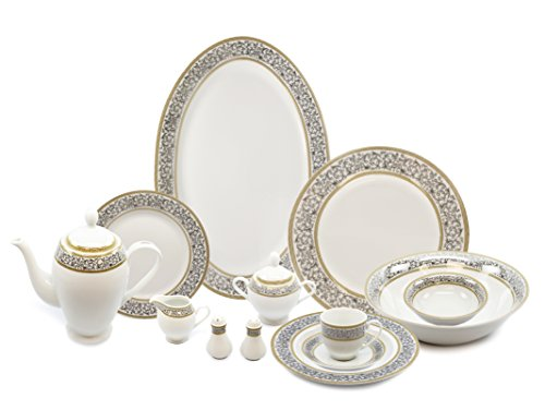 Royalty Porcelain 57-pc Banquet Dinnerware Set for 8, Bone C