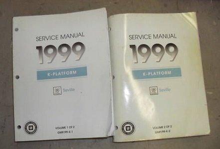 1999 CADILLAC SEVILLE Service Shop Repair Manual Set 99 DEALERSHIP BOOK 2 VOLUME
