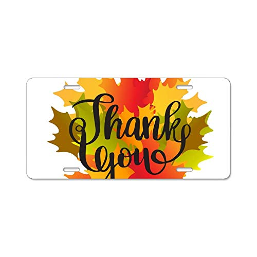 py Thanksgiving Day Card with Maple Leaves6 Personalized License Plate Frame Aluminum Decorative Car Plate Frame Outdoors Auto License Plate Frame ()