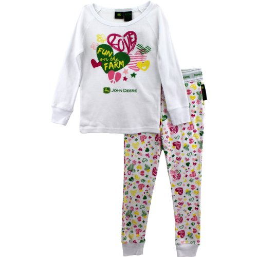 John Deere Toddler and Girls Pajamas Set (6X, White Fun on The Farm)