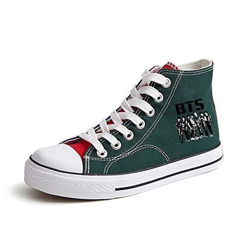 Lona Fashion Pareja Ayuda Transpirables Ocasionales Zapatos Green56 Cordones Con Popular Alta Bts De 0YqIgxx