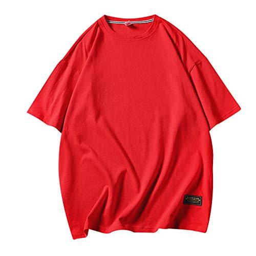 Mens Summer Casual Loose Pure O-Neck Fashion Short