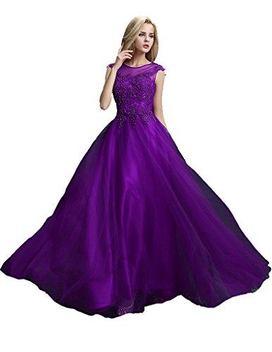 Beauty Morado sin larga Emily través Lace ver de vestido del noche a Up manga Perla IYYrx6