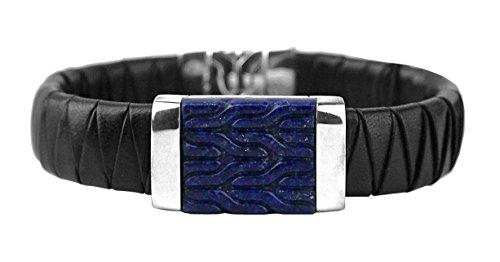 John Hardy Silver Chain Bracelet (JOHN HARDY LAPIS LAZULI CLASSIC CHAIN WOVEN LEATHER ST.SILVER BRACELET NEW #101B)