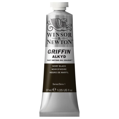 Winsor & Newton Griffin Alkyd Fast Drying Oil Color Tube, Ivory Black, 37-ml Tube