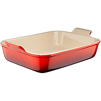 Le Creuset Heritage Stoneware 12-by-9-Inch Rectangular Dish, Cerise (Cherry Red)