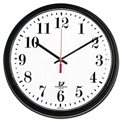 Black Quartz Contract Clock, 13-3/4, Black, Sold as 1 Each