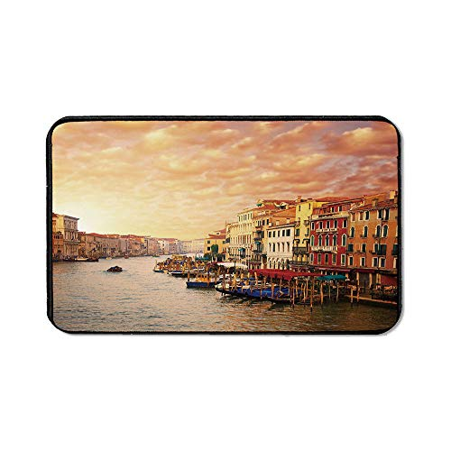 (Scenery Decor Personalized Mouse Pad,Venezia Italian Decor Landscape with Old Houses Gondollas and Spikes Image for Work Game,15.75''Wx23.62''Lx0.12''H)