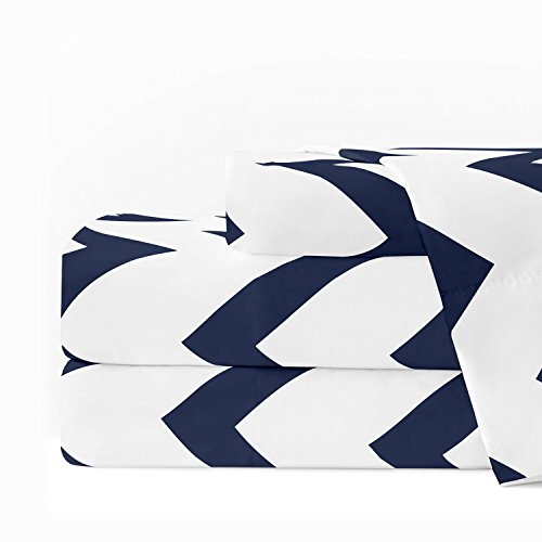 Luxury Pocket (Egyptian Luxury 1600 Series Hotel Collection Chevron Pattern Bed Sheet Set - Deep Pockets, Wrinkle and Fade Resistant, Hypoallergenic Sheet and Pillowcase Set - Full - White/Navy)