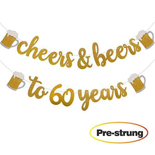 Cheers & Beers to 60 Years Gold Glitter Banner for 60th Birthday Wedding Anniversary Party Decorations Pre Strung & Ready To Hang -