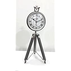 THORINSTRUMENTS (with device) Vintage Style Table Top Desk CHROME Clock Collectible Watch Decorative With Wooden TRIPOD