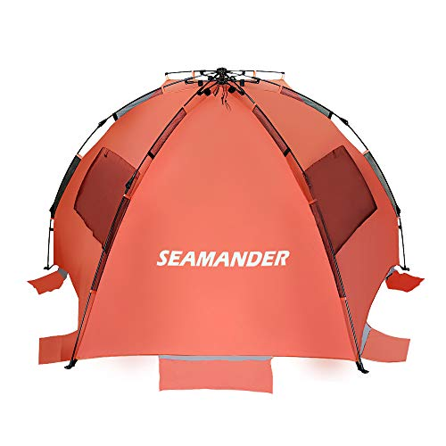 Seamander Beach Tent Sun Shelter Camping Festival Fishing Easy Set Up Beach Tent XL (Orange)
