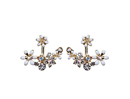 Pearl Daisy Earrings - Spring Deer Korean Fashion Imitation Pearl Earrings Small Daisy Flowers Hanging After Senior Female Jewelry (White)