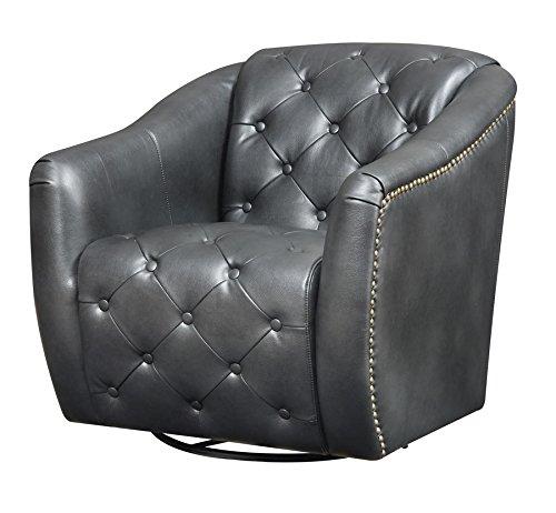 Vintage Swivel Barrel Chair, Matte Black