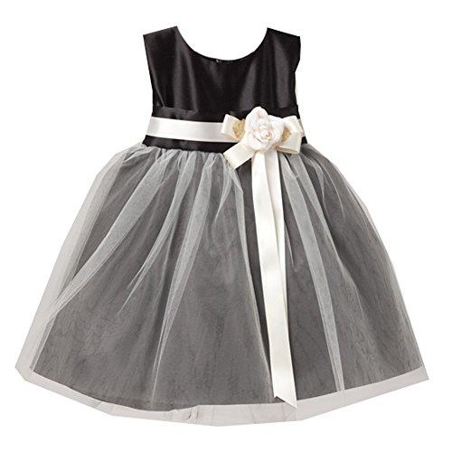 Sweet Kids Baby Girls Black White Floral Accent Flower Girl Dress 6-9M