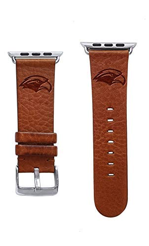 (Affinity Bands University of Southern Mississippi Golden Eagles Top Grain Oil Tanned Leather Band Compatible with Apple Watch - Available in Three Leather Colors - Band ONLY)