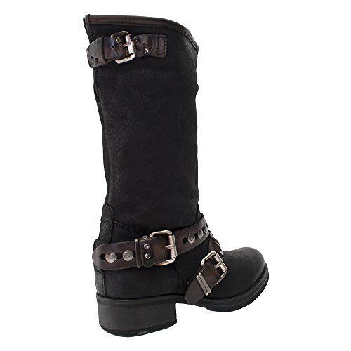 8100 Melrose New Black Leather Zippered Belted Mid Calf Boot Black jZq2Lkco