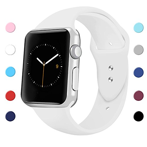 Sport Band for Apple Watch 42mm 38mm, Soft Silicone Sport Strap Replacement Bands for iWatch Apple Watch Series 3, Series 2, Series 1 38mm White Small