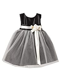 Sweet Kids Baby Girls Black White Floral Accent Flower Girl Dress 6-24M