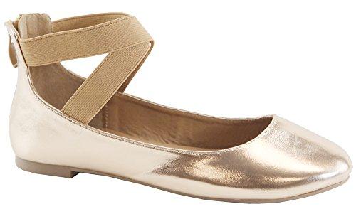 20 Gold with Straps Flats Dana Ballerina Elastic Anna Classic Women's Crossing Rose P6wfqCx5Yn