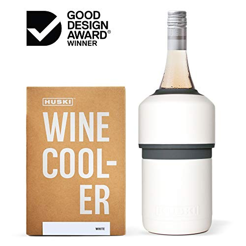 Huski Wine Cooler | Premium Iceless Wine Chiller | Keeps Wine or Champagne Bottle Cold up to 6 Hours | Award Winning Design | New Wine Accessory | Perfect Gift for Wine Lovers (White)