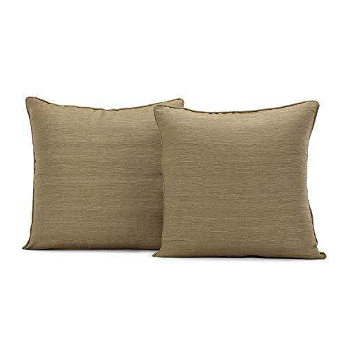 (HPD Half Price Drapes SSRW-LF951-CC18PR Raw Silk Cushion Cover - Pair, 18 X 18, Sandalwood)