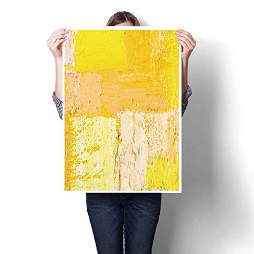 """Canvas Painting Wallpaper Texture Background n Original Oil Yellow and Beige Painting,20""""W x 36""""L Home Decor Oil on Canvas(Frameless)"""