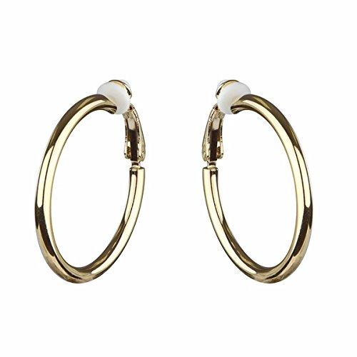 Charline's Clip-On Hoop Earrings - Gold, 30mm