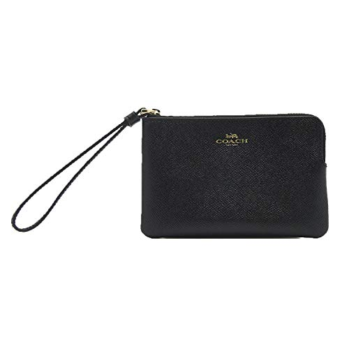 Coach Crossgrain Leather Corner Zip Wristlet, Black