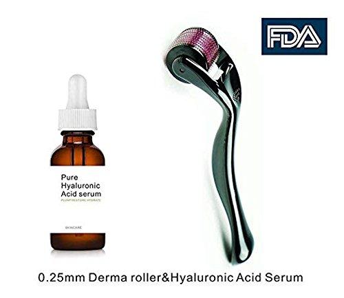 Dermapeel Titanium Microneedle Derma Roller 540 Micro Needles Skin Care Needle 0.25mm+hyaluronic acid (Micro Needle Roller)