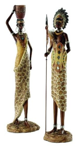Afrika Deko afrikanische figuren krieger und frau 48cm afrika deko amazon de