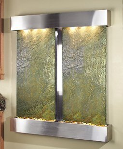 (Adagio Cottonwood Falls Wall Fountain Green Solid Slate Stainless Steel - CFS2002)