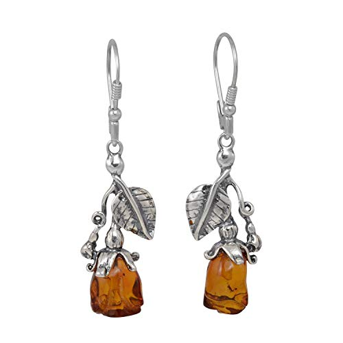 Sterling Silver and Baltic Honey Amber Leverback Dangling Earrings