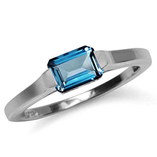 1.14ct. Genuine London Blue Topaz White Gold Plated 925 Sterling Silver Solitaire Ring Size (925 Sterling Silver Solitaire)