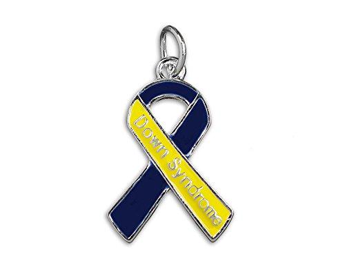 (Down Syndrome Blue & Yellow Ribbon Charm (Retail))