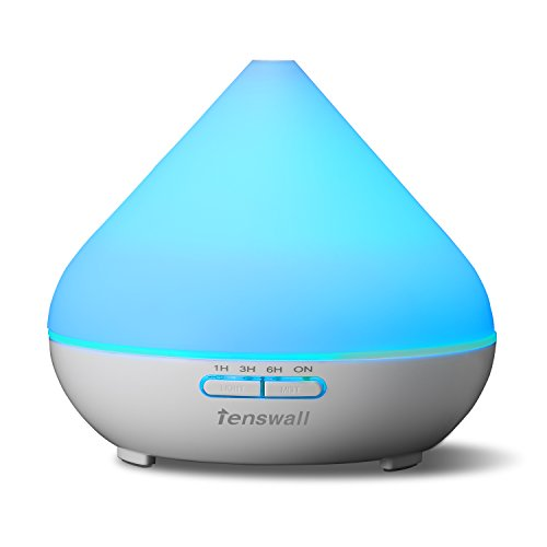 Tenswall-Aroma-Ultrasonic-Essential-Oil-Diffuser-Aromatherapy-Waterless-Auto-Shut-off-Cool-Mist-Humidifier-300ml-with-7-Color-LED-Lights-Changing-for-Home-Office-SPA-Baby-Room