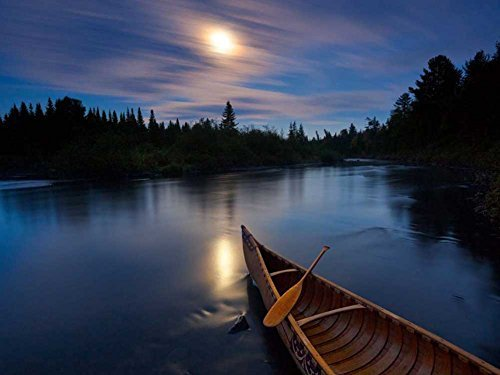 Moonlit Canoe Allagash River -Oil Painting On Canvas Modern Wall Art Pictures For Home Decoration Wooden Framed (20X16 Inch, Framed)