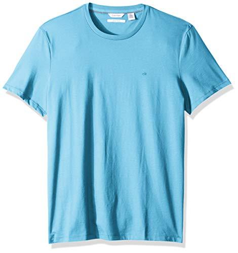 Calvin Klein Men's Short Sleeve Crew Neck Liquid Jersey T-Shirt with UV Protection, Sea Breeze, Large