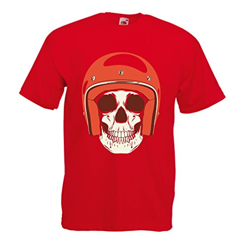 T Shirts for Men Moto Skull with Cap Helmet- Motorcycle Clothing, Motorbike Apparel, Riding Gear (Small Red Multi Color) -