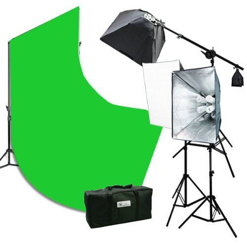 10 x 12 Chromakey Green Screen Background Support Stand 2400 Watt Photography Studio Lights Photo Video Lighting Kit H9004SB2-1012G by ePhotoinc