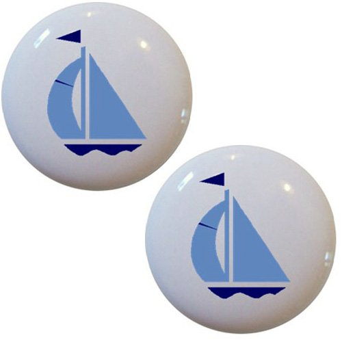 Set of 2 Light Blue & Navy Sailboat Ceramic Cabinet Drawer Pull Knobs ()