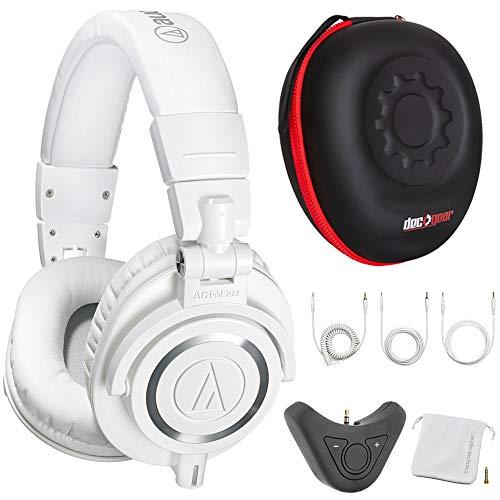 (Audio-Technica M50x Professional Studio Monitor Headphones w/Adapter Bundle (White))