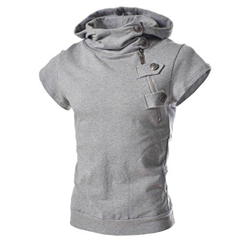 T Shirt, Han Shi Men's Fashion Hooded Button Shirt Sports Blouse Tees Tank Vest (L, Gray)