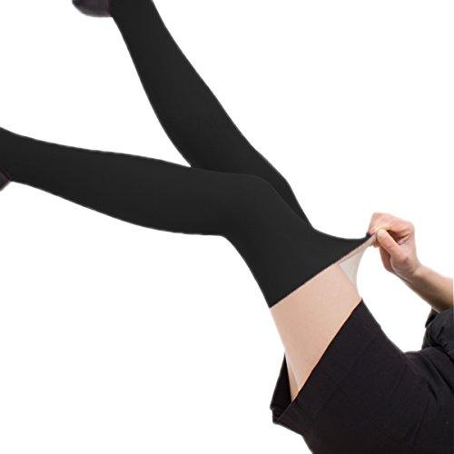 Genou Beige Collants Avec Porte Imitant jarretelles Black Chaussette 18mm Fantaisie Motif wqT4ZZ