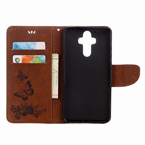 Yiizy Huawei Mate 9 Custodia Cover, Farfalla Fiore Design Sottile Flip Portafoglio PU Pelle Cuoio Copertura Shell Case Slot Schede Cavalletto Stile Libro Bumper Protettivo Borsa (Marrone)