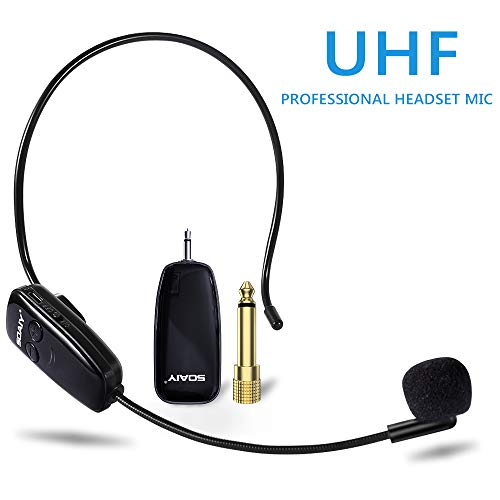 Price comparison product image Wireless Microphone,  UHF Wireless Microphone Headset, 160 ft (50M) Range,  Headset and Handheld 2 In 1,  3.5 and 6.35mm Port,  for Voice Amplifier,  Speaker,  PA System, Fitness Instructor (Excludes APM)
