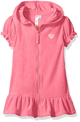 Pink Platinum Big Girls' Hooded Terry Swim Cover up, Knockout Pink, 14/16 (Cloth Terry Cover Swim)