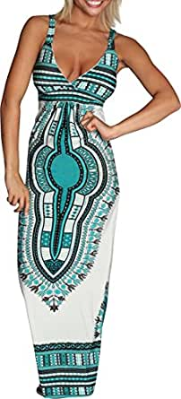 Alki'i African Print Casual Evening Party Cocktail Long Maxi Dress - Blue L/XL